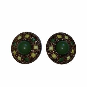 Vintage Green & Gold tone Costume Clip on Earring